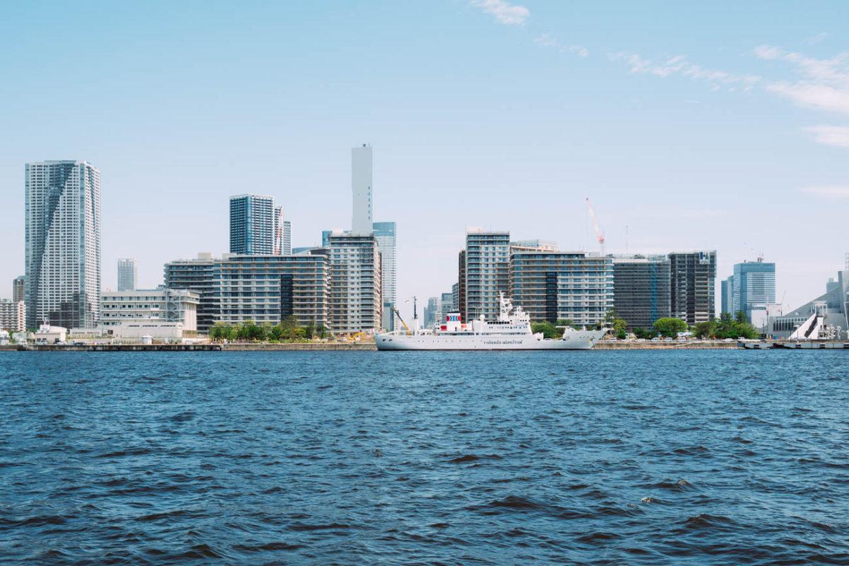 HARUMI FLAG(晴海フラッグ)を海から眺める